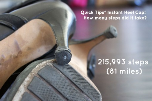 GoGo Heel Caps lasts 81 miles over worn down heel tip with metal nail
