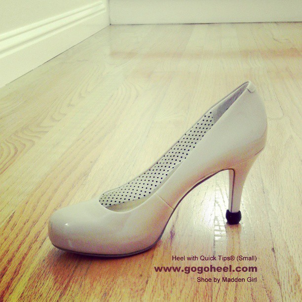 GoGo Heel Cap on nude patent pump