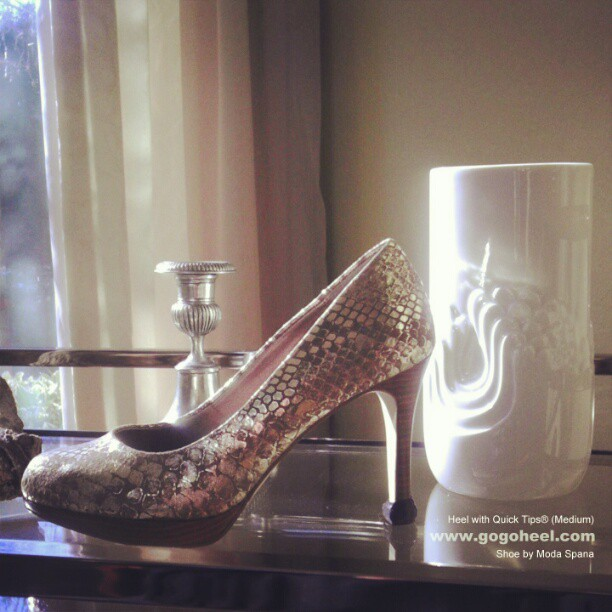 GoGo Heel Caps on gold high heel shoes