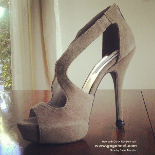GoGo Heel Cap on taupe stiletto heel