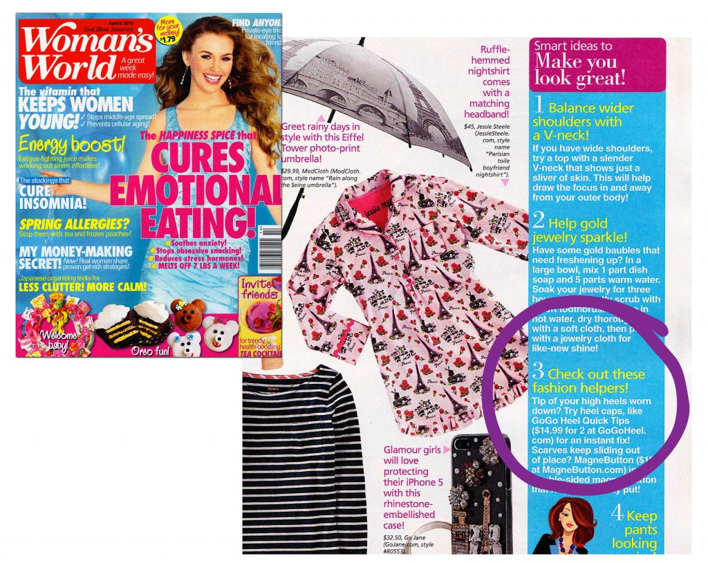 GoGo Heel Caps feature in Womans World Magazine