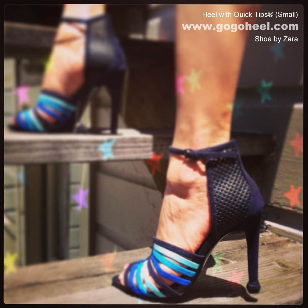 GoGo Heel Cap on blue ankle strap heels