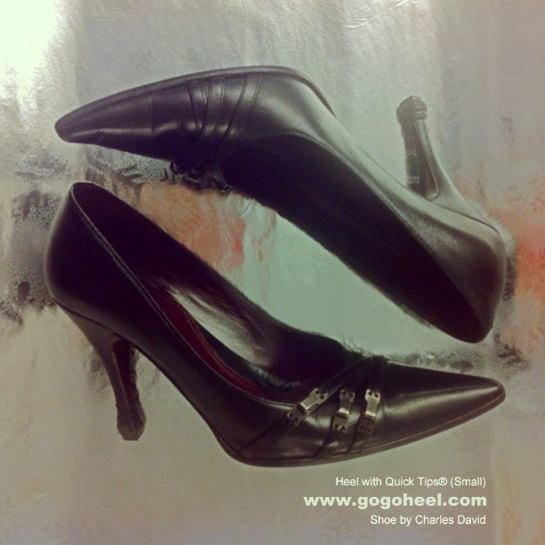 GoGo Heel Cap on black work pumps