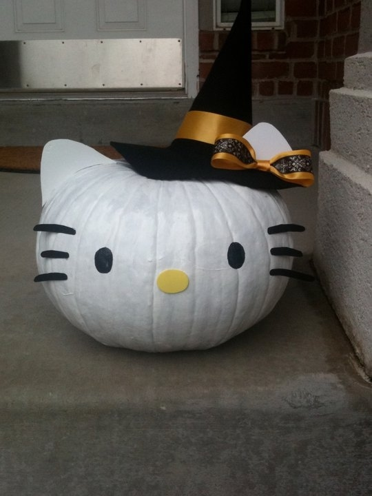 No Carve Hello Kitty Witch Pumpkin