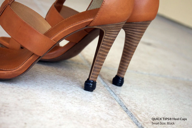 QUICK TIPS® Small Heel Caps on Tan High Heel Booties Close-up