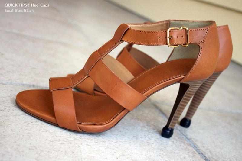 QUICK TIPS® Small Heel Caps on Tan High Heel Booties