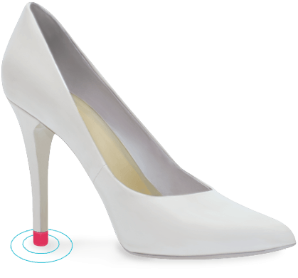 white high heel with pink heel tip