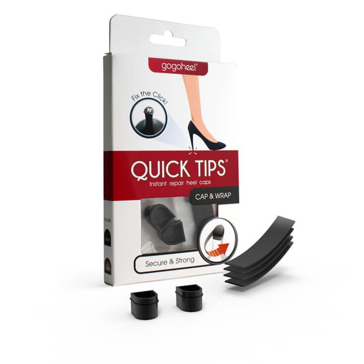 QUICK TIPS Cap & Wrap Heel Repair Kit, 1 Pair Small – Black