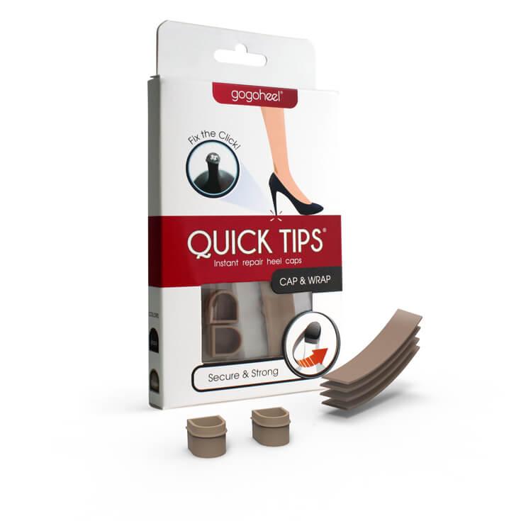 QUICK TIPS Cap & Wrap Heel Repair Kit, 1 Pair Small - Taupe