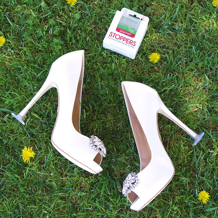 GoGoHeel STOPPERS on white wedding heels on grass