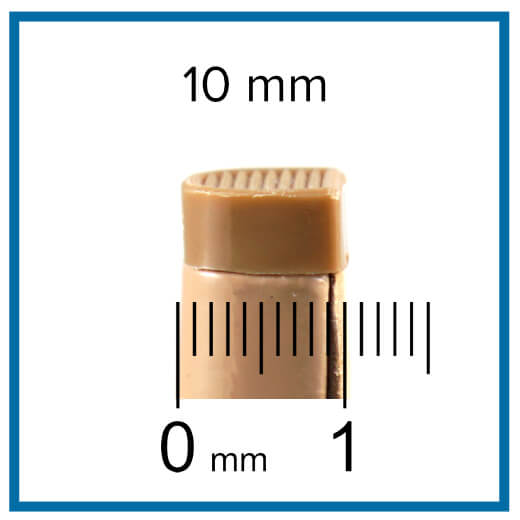 measuring heel tip length with ruler
