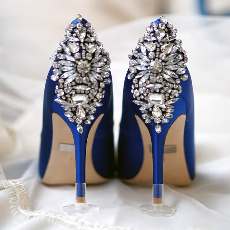 "STOPPERS Heel Protector on ""Something Blue"" wedding shoes"